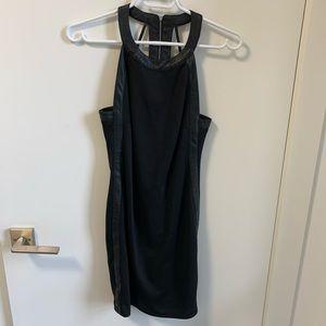 Aqua black dress with faux leather trim